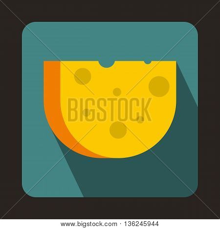 Piece of Swiss cheese icon in flat style on a bluegreen background