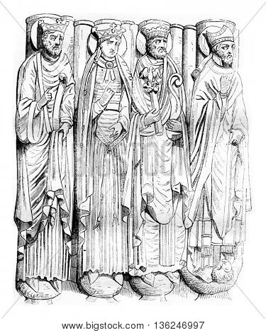 Statues of Saint Germain des Pres porch, vintage engraved illustration. Magasin Pittoresque 1843.