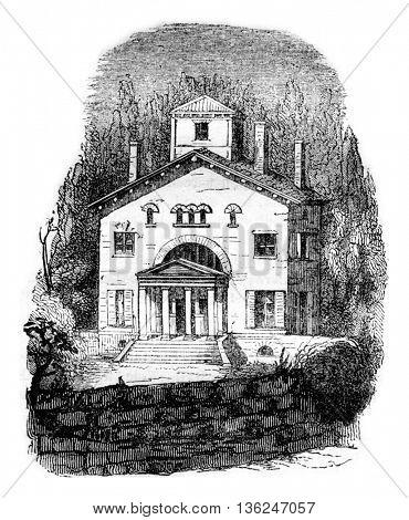 Bernardin de Saint Pierre House has Essonne, vintage engraved illustration. Magasin Pittoresque 1843.