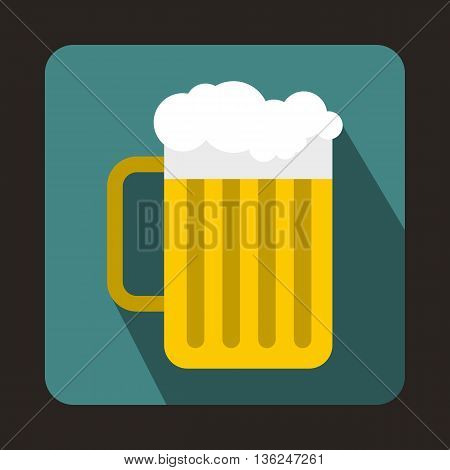 Beer mug icon in flat style on a bluegreen background