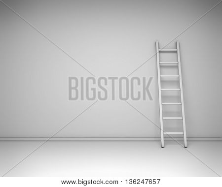White interior with the leaned ladder against the wall concept. 3D rendering background.