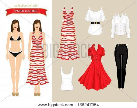 Paper doll with wardrobe. Body template. Set of paper clothes/holiday.