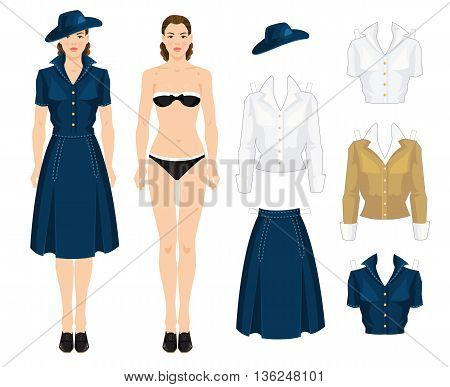 Paper doll with paper clothes. Body template. Vector illustration of vintage clothes in forties style. Pretty girl in blue dress, black shoes with lace and hat