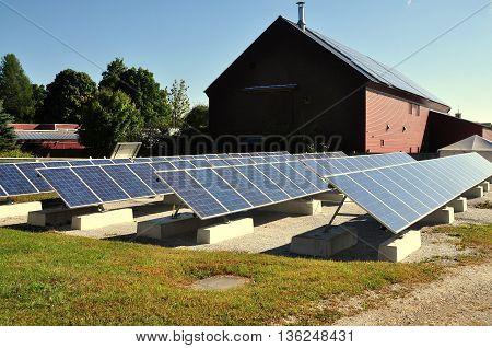 Hancock Massachusetts - September 14 2014 : Solar panels are used to provide power for the Hancock Shaker village