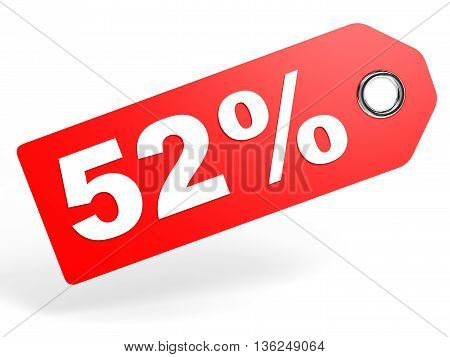 52 Percent Red Discount Tag On White Background.