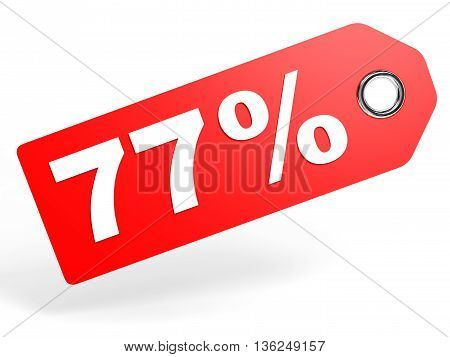 77 Percent Red Discount Tag On White Background.