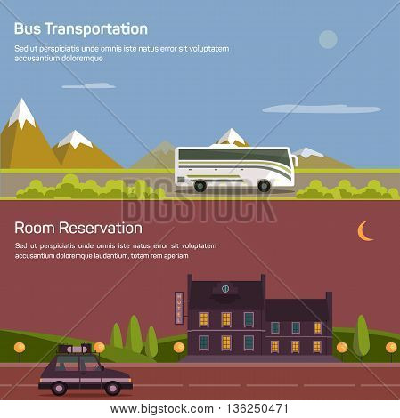 Bus and car with luggage or baggage on road near mountains and bushes under sky with sun and moon. Hotel or inn, motel or lodging for room reservation. Concept of traveling and tourism