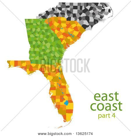usa east coast vector map