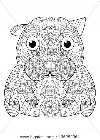 Hamster coloring book for adults vector illustration. Anti-stress coloring for adult. Zentangle style animal. Black and white lines. Lace pattern