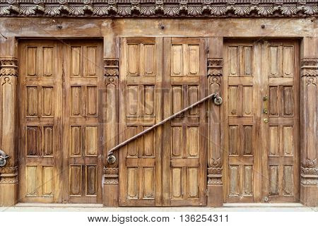 Old shop wooden door in Patan, Nepal