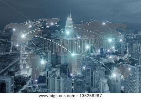 Networking concept - Network and world map on blur city use for global network partners background.(Elements of this image furnished by NASA)