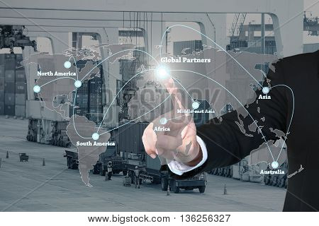 Businessman working with virtual interface global partners graphic use for logisticimportexport background.Global partners network.(Elements of this image furnished by NASA)