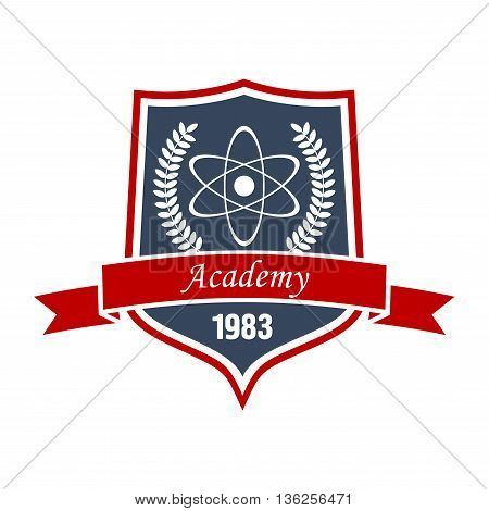 Academy of physics insignia or science education symbol with model of atom, encircled by laurel wreath on medieval shield with ribbon banner. May be use as education or heraldry theme design