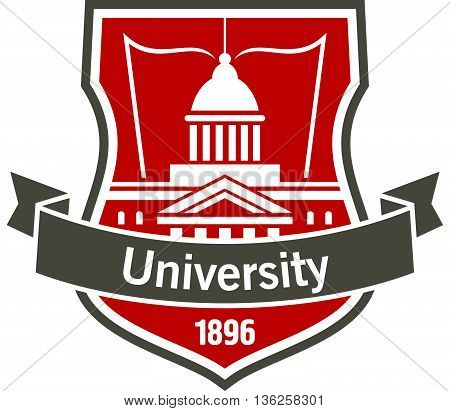 Heraldic badge of university with white silhouette of educational institution building with open book, placed on a shield with curved ribbon banner and foundation date. Great for education design