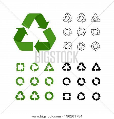 Big collection of vector recycle reuse icons various style linear, flat, simple. Recycle symbols collections isolated on white. Environment icons, recycle signs