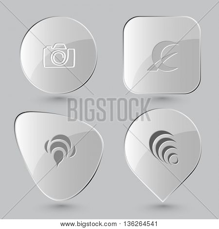 4 images: camera, monetary sign, bee, hanoi pyramid. Abstract set. Glass buttons on gray background. Vector icons.