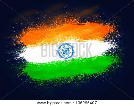 Creative Indian Flag design made by tricolor splash for Happy Independence Day and Republic Day celebration.