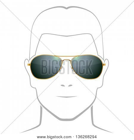 Black sunglasses with golden rim vector template with face outline.