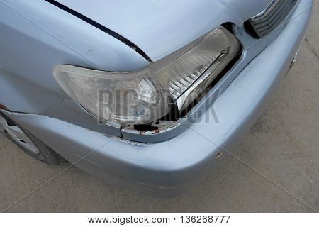 A Dent On The Right Front Of A Saloon Car (damage From Crashed Accident)