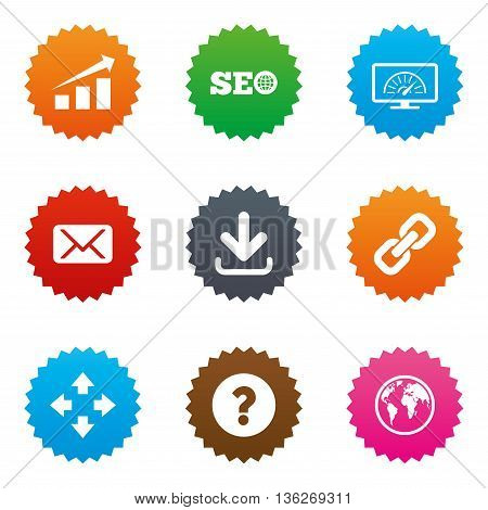 Internet, seo icons. Bandwidth speed, download arrow and mail signs. Hyperlink, monitoring symbols. Stars label button with flat icons. Vector