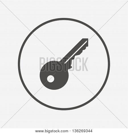 Key sign icon. Unlock tool symbol. Flat key icon. Simple design key symbol. Key graphic element. Round button with flat key icon. Vector