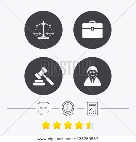 Scales of Justice icon. Client or Lawyer symbol. Auction hammer sign. Law judge gavel. Court of law. Chat, award medal and report linear icons. Star vote ranking. Vector