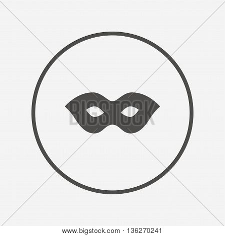 Mask sign icon. Anonymous spy access symbol. Flat mask icon. Simple design mask symbol. Mask graphic element. Round button with flat mask icon. Vector