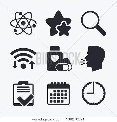 Medical icons. Atom, magnifier glass, checklist signs. Medical heart pills bottle symbol. Pharmacy medicine drugs. Wifi internet, favorite stars, calendar and clock. Talking head. Vector