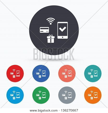 Mobile payments icon. Smartphone, credit card. Flat mobile payments icon. Simple design mobile payments symbol. Mobile payments graphic element. Circle buttons with mobile payments icon. Vector