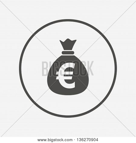 Money bag sign icon. Euro EUR currency. Flat money bag icon. Simple design money bag symbol. Money bag graphic element. Round button with flat money bag icon. Vector