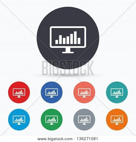 Computer monitor sign icon. Market monitoring. Flat monitor chart icon. Simple design monitor chart symbol. Monitor chart graphic element. Circle buttons with monitor chart icon. Vector