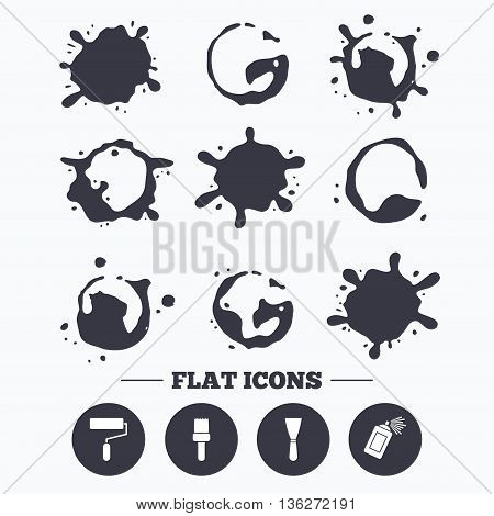 Paint, coffee or milk splash blots. Paint roller, brush icons. Spray can and Spatula signs. Wall repair tool and painting symbol. Smudges splashes drops. Vector