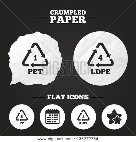 Crumpled paper speech bubble. PET 1, Ld-pe 4, PP 5 and Hd-pe 2 icons. High-density Polyethylene terephthalate sign. Recycling symbol. Paper button. Vector