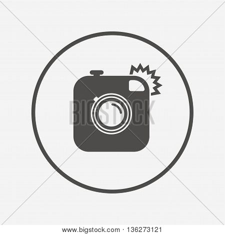 Hipster photo camera sign icon. Retro camera. Flat retro camera icon. Simple design retro camera symbol. Retro camera graphic element. Round button with flat retro camera icon. Vector
