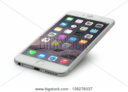 Koszalin, Poland - June 29, 2016:  iPhone 6 Plus. Devices displaying the applications on the home screen. The iPhone 6 Plus is smart phone with multi touch screen produced by Apple Computer, Inc