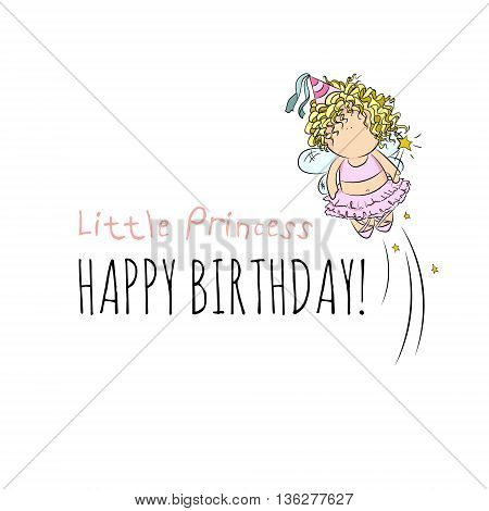 cute vector illustration of flying fairy with magic stick. doodle. happy birthday card. romantic girly style. invitation card template. isolated. white background.