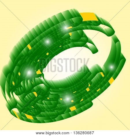 Abstract retro technology circles vector background, green