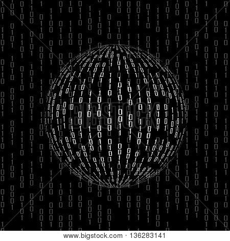 Ball of binary code. Abstract technology background
