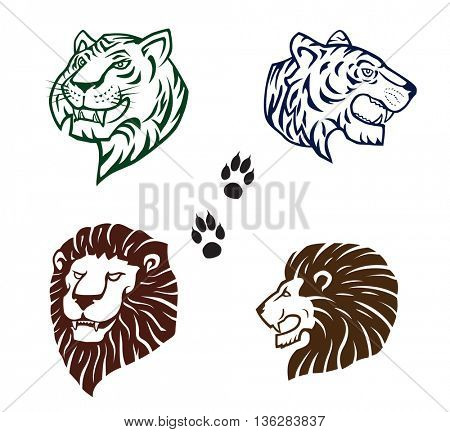 Tigers and Lions  Silhouette heads