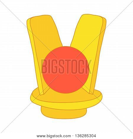 Golden sign of Egyptian Goddess Isis icon in cartoon style on a white background