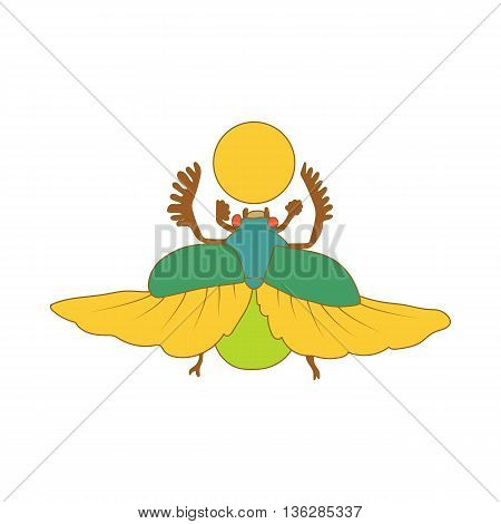 Egyptian sacred bug a scarab a symbol of the sun icon in cartoon style on a white background