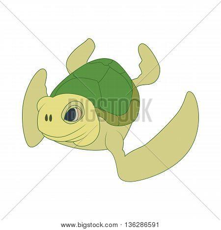 Sea turtle icon in cartoon style isolated on white background. Marine animals symbol