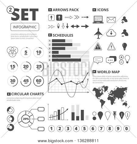 Vector set of infographics elements. Graphis, charts and thematic icons pack. Infographic illustration isolate on white background