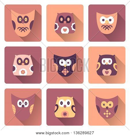 Set of owls isolated on background. Flat icons. Vector illustration.
