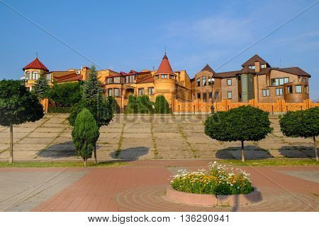 modern urban construction, high comfort of home, luxury cottages on the banks of the Dnieper river, Kiev, Ukraine, Obolon district.