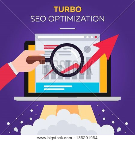Turbo boost SEO optimization vector flat illustration