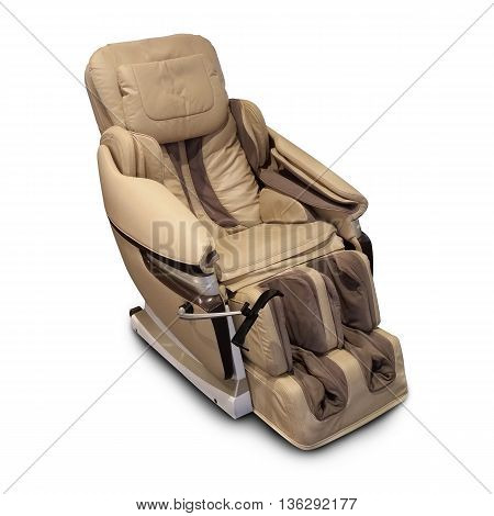 Brown leather comfortable reclining massage chair. With Shiatsu Tapping and Kneading therapeutic massages