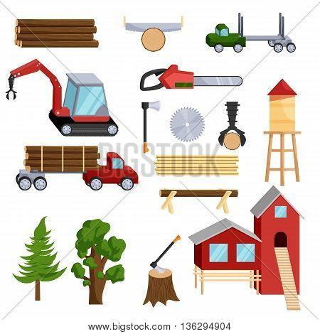 Timber industry icons set in cartoon style isolated on white background