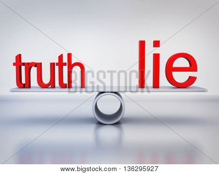 Abstract balance truth and lie (done in 3d rendering)