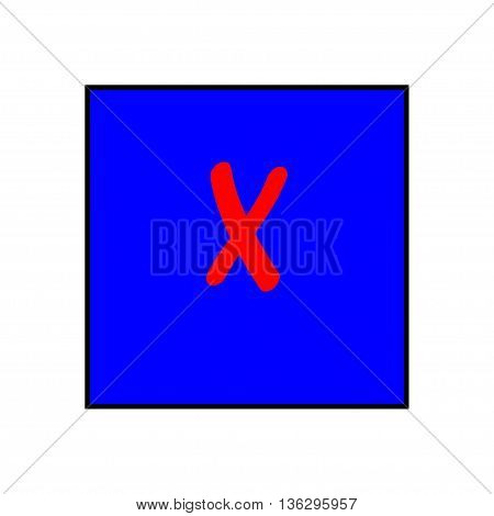 Cross red sign in blue square. Isolated on white background .Cross redon blue symbol marks. Cross sign picture. Blue sticker vector illustration. Flat vector image. Vector illustration.